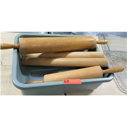 Bin Multiple Misc Wooden Rolling Pins Dough Roller - some w/ Handles