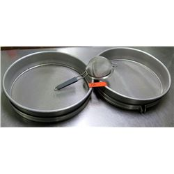 Qty 2 Large Metal Round Commercial Sifters Sieves & Smaller Strainer