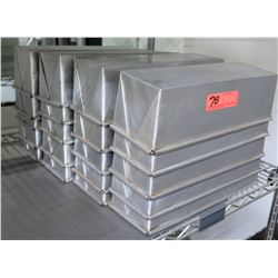 Qty 30 Multiple Misc Stainless Steel Square Cake Pans, Meat Loaf Pans, etc, 13.5 L x 5 W x 4 H