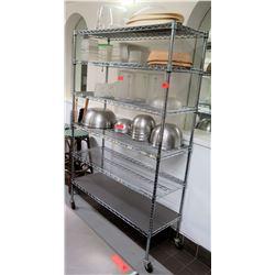 "Large Metal Chrome Adjustable Kitchen Shelf Unit on Wheels 48""L x 18'W x 76""H"