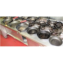 Qty 6 Large Metal & Cast Iron Commercial Frying Pans