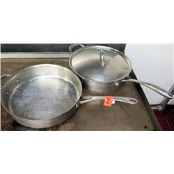 Qty 2 Large Metal Commercial Frying Pans - one w/ Lid