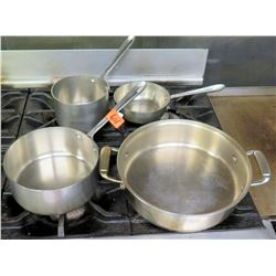 Qty 4 Misc Pots & Pans - Sauté Pan, Frying Pan, Sauce Pan, etc