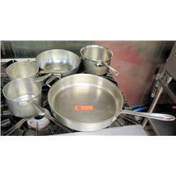 Qty 5 Misc Pots & Pans - Large Frying Pan, & Misc Sauce Pots