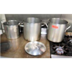 Qty 3 Misc Pots & Pans (Centurion Large Stock Pot, 2 Sauce Pot)