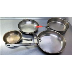 Qty 4 Misc Sizes Frying Pans - One w/ 2 Handles