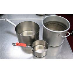 Qty 3 Misc Sizes Pots - Large Stock Pot, Med Sauce Pot & Small Pot w/ Handle