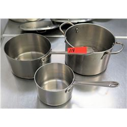 Qty 3 Misc Sizes Pots - Large Stock Pot, All-Clad Sauce Pot & Small Pot w/ Handle