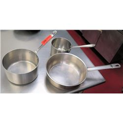 Qty 3 Misc Sizes Pots - Frying Pan, Med Sauce Pot & Small Pot w/ Handle
