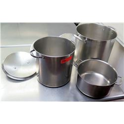 Qty 3 Misc Sizes Pots - 2 @ Large Stock Pots & All-Clad Stew Pot w/ 2 Handles