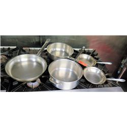 Qty 5 Misc Sizes Pots - 3  @ Frying Pan, Med Sauce Pot & Stew Pot w/ 2 Handles