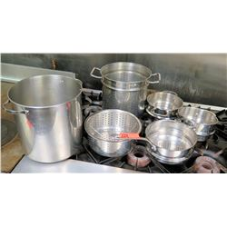 Qty 5 Large Misc Stock Pots w/ Stainless Pasta Inserts