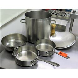 Qty 4 Misc Sizes Pots & Pans - 3  @ All-Clad Frying Pans & Large Stock Pot w/ Lid
