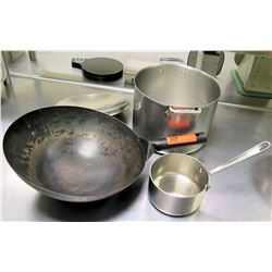 Qty 3 Misc Sizes Pots - Large All-Clad Stock Pot w/ Lid, Wok & Sauce Pan
