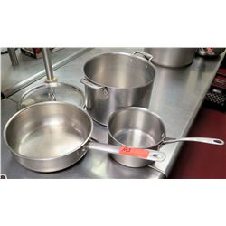 Qty 3 Misc Sizes Pots - Large All-Clad Stock Pot w/ Lid, Frying Pan & Sauce Pan