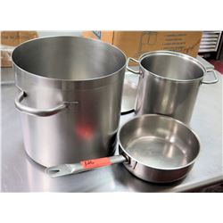 Qty 3 Misc Sizes Pots - Large Stock Pot w/ Lid, Frying Pan & Tall Sauce Pot