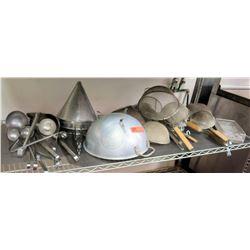 Multiple Misc Utensils - Colanders, Sieves, Ladles, etc