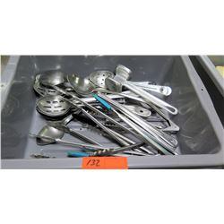 Bin Multiple Misc Utensils - Tongs, Mallet, Serving Spoons - Some Straining