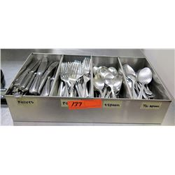 Metal Sorter w/ Multiple Misc Forks, Knives & Spoons Flatware