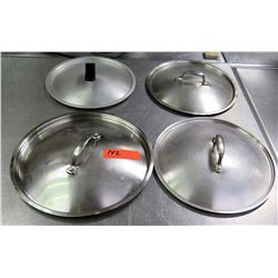 Qty 4 Misc Size Stainless  Steel Pot Lids w/ Handles