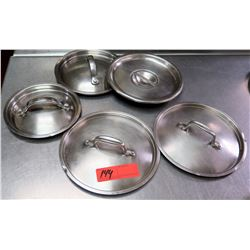 Qty 5 Misc Size Stainless  Steel Pot Lids w/ Handles