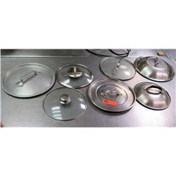 Qty 7 Misc Size Stainless  Steel & Glass Pot Lids w/ Handles