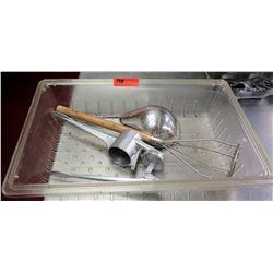 Multiple Misc Utensils - Large Straining Spoon, Masher, Kull Company etc