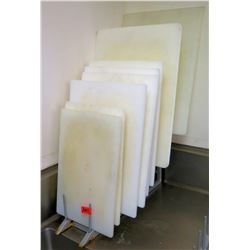 Multiple Misc Sized White Plastic Cutting Boards
