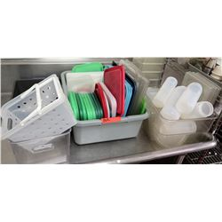 Qty 3 Bins Misc Containers & Square Lids