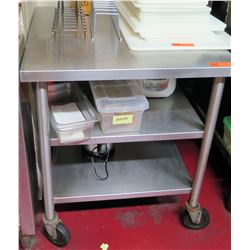 Stainless Steel Rectangle Rolling Table w/ 2 Shelves Underneath