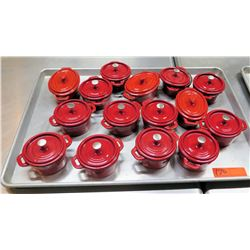 Qty 15 Red Ceramic Rice Bowls w/ Lid & Maker's Mark
