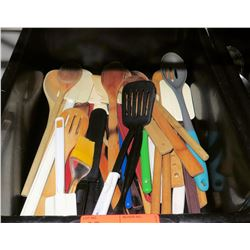 Plastic Bin w/ Multiple Misc Plastic, Metal & Wooden Spoons, Spatulas, etc