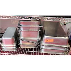 Multiple Misc Stainless Steel Rectangle Serving Pans, Storage Containers, etc
