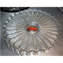 Etched Round Glass Serving Dish Plate