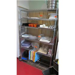 Large Metal Shelving Unit w/ Wheels w/ Contents, Dishes, etc, 48 L x 18 W x 76 H