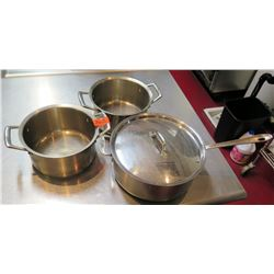 Qty 3 Misc Sizes Large Stock Pots & Sauté Pan w/ 1 Lid