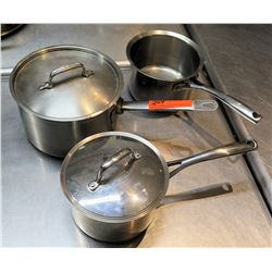 Qty 3 Misc Sizes Large Sauce Sauté Pots w/ Long Handles - 1 w/ Lid