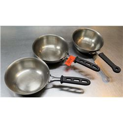 Qty 3 Misc Sizes Frying Sauté Pans w/ Rubber Handles