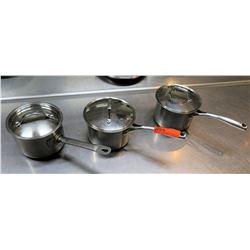 Qty 3 Misc Sizes Large Sauce Sauté Pots w/ Long Handles & Lids