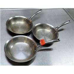 Qty 3 Misc Sizes Frying Sauté Pans w/ Long Metal Handles