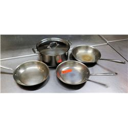 Qty 4 Misc Sizes Pots - 3 Frying Pans w/ Long Handles & Stock Stew Pot w/ Lid