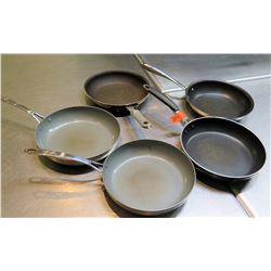 Qty 5 Misc Sizes Non-Stick Frying Sauté Pans w/ Long Metal Handles