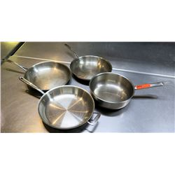 Qty 4 Misc Frying Sauté Pans w/ Long Metal Handles