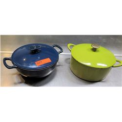Qty 2 Stock Sauce Pots - Green & Blue, Both w/ Lids
