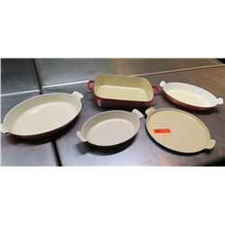 Qty 5 Misc Size Shape Casserole Dishes w/ Handles