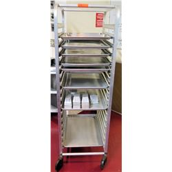 "Rolling Sheet Pan Rack w/ Shelf w/ Misc Loaf Pans 28""L x 20.25""W x 64""H"