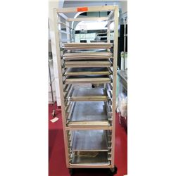 "Rolling Sheet Pan Rack Shelf w/ Misc Baking Sheets, 26""L x 21""W x 70""H"