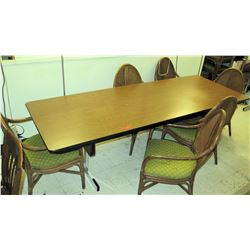 Folding Conference Table w/ 6 Wicker Bamboo Chairs w/ Green Upholstered Seats, 96 L x 36 W x 29 H