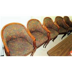 Qty 5 Wicker Bamboo Chairs w/ Floral Upholstery