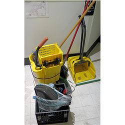 Multiple Misc Janitorial Supplies Equipment - Mop Bucket, Dustpan, etc